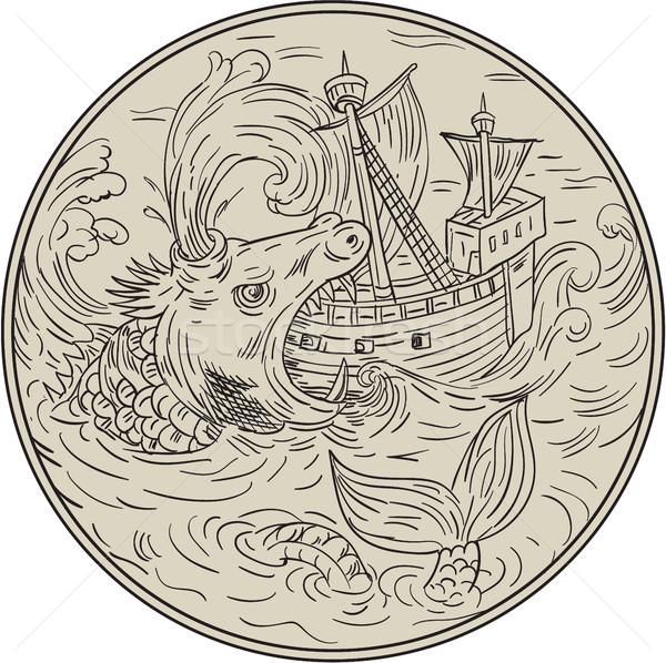 古代 海 モンスター 帆船 サークル 図面 ストックフォト © patrimonio