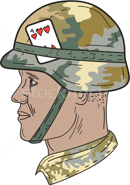 African American US Army Soldier Helmet Playing Card Drawng Stock photo © patrimonio