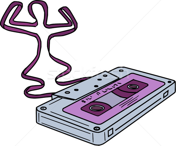 Compact Cassette Tape Raising Up Arm Mono LIne Stock photo © patrimonio