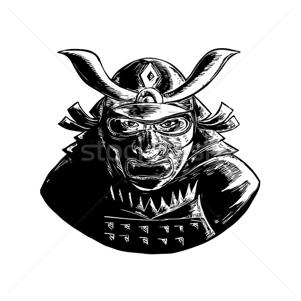 Samurai Warrior Wearing Mempo Woodcut Stock photo © patrimonio
