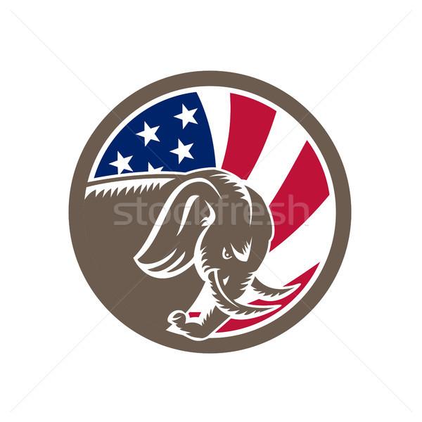 Republikein olifant mascotte USA vlag icon Stockfoto © patrimonio