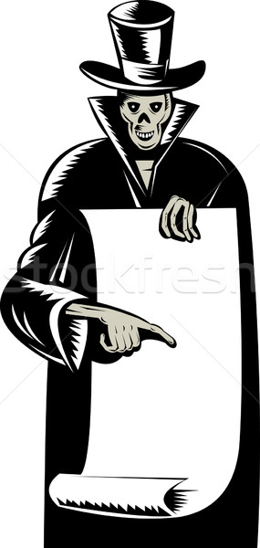 Grim Reaper Paper Pointing Woodcut Stock photo © patrimonio