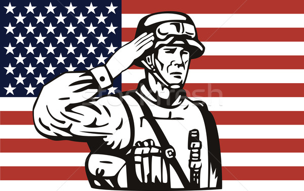 American soldier serviceman saluting  Stock photo © patrimonio