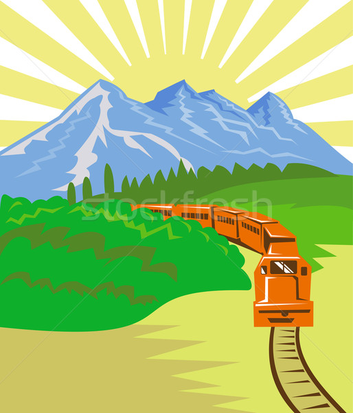 Diesel trein locomotief retro illustratie omhoog Stockfoto © patrimonio
