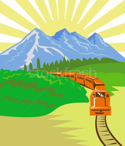 Diesel train locomotive rétro illustration up Photo stock © patrimonio