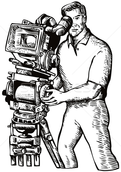 Cameraman Movie Director Filming Vintage Camera Stock photo © patrimonio
