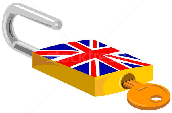 Lakat kulcs brit zászló terv illusztráció szett Stock fotó © patrimonio