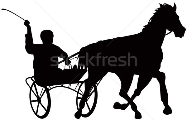 Cheval jockey course rétro illustration blanche Photo stock © patrimonio