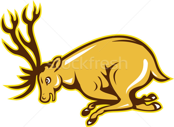 Deer Charging Side Cartoon Stock photo © patrimonio