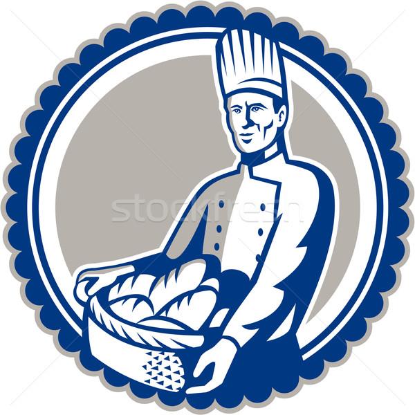 Baker panier pain pain rétro Photo stock © patrimonio