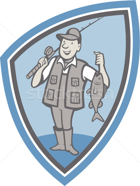Fly Fisherman Showing Fish Catch Cartoon Stock photo © patrimonio