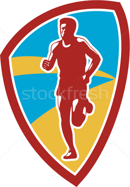 Stock photo: Marathon Runner Shield Retro