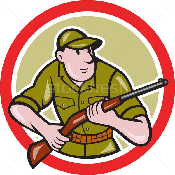 Jager geweer cirkel cartoon illustratie Stockfoto © patrimonio