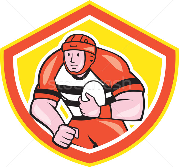 Rugby Player Holding Ball Shield Cartoon Stock photo © patrimonio