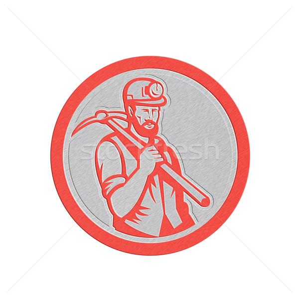 Metallic Coal Miner Hardhat Holding Pick Axe Circle Woodcut Stock photo © patrimonio