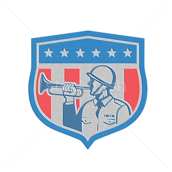 Metallic Soldier Blowing Bugle Crest Stars Retro Stock photo © patrimonio