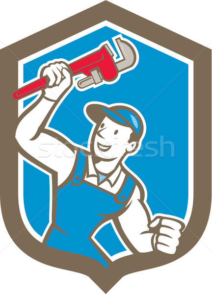 Plumber Holding Monkey Wrench Shield Cartoon Stock photo © patrimonio