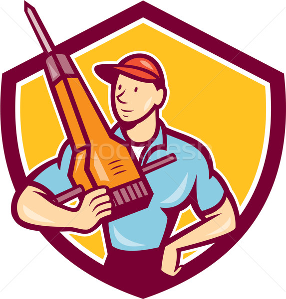 Construction Worker Jackhammer Shield Cartoon Stock photo © patrimonio