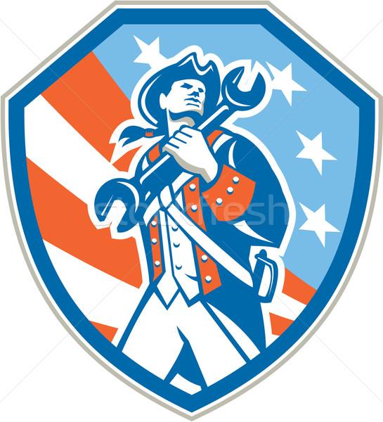Americano patriota llave escudo retro Foto stock © patrimonio