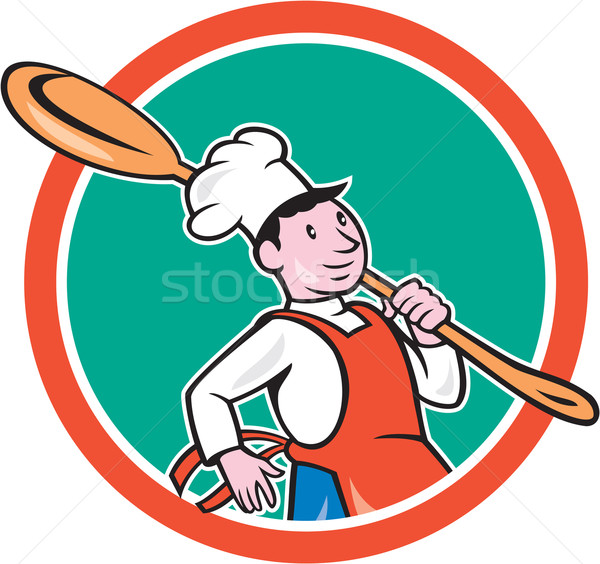 Stock photo: Chef Cook Marching Spoon Circle Cartoon