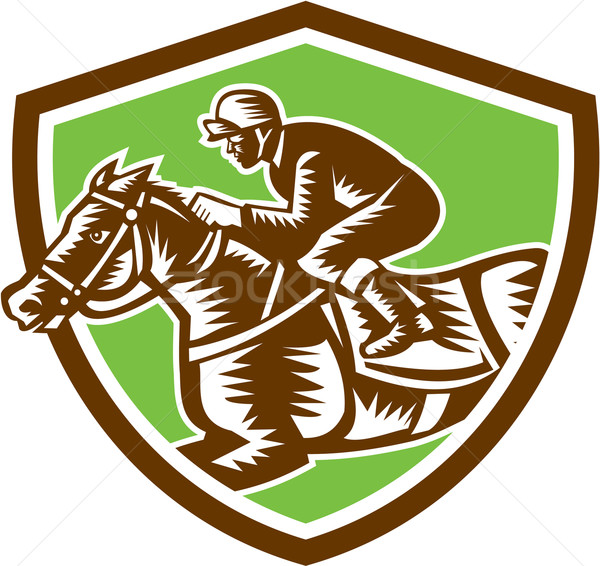 Jockey Horse Racing Shield Retro Woodcut Stock photo © patrimonio