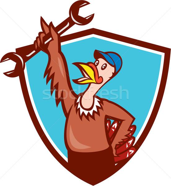 Törökország szerelő csavarkulcs pajzs rajz illusztráció Stock fotó © patrimonio