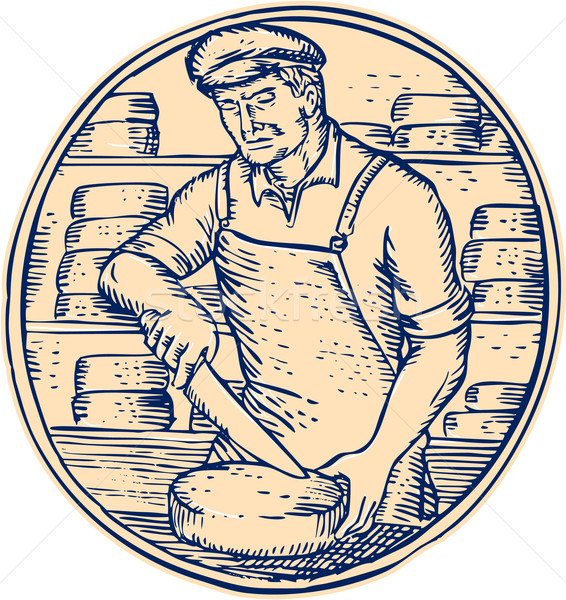 Cheesemaker Cutting Cheddar Cheese Etching Stock photo © patrimonio