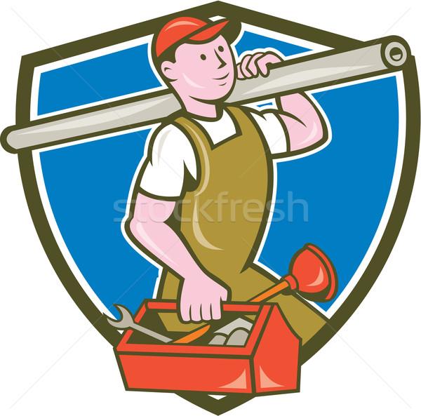 Vízvezetékszerelő hordoz cső szerszámosláda címer rajz Stock fotó © patrimonio