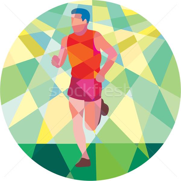Marathon Runner Running Circle Low Polygon Stock photo © patrimonio