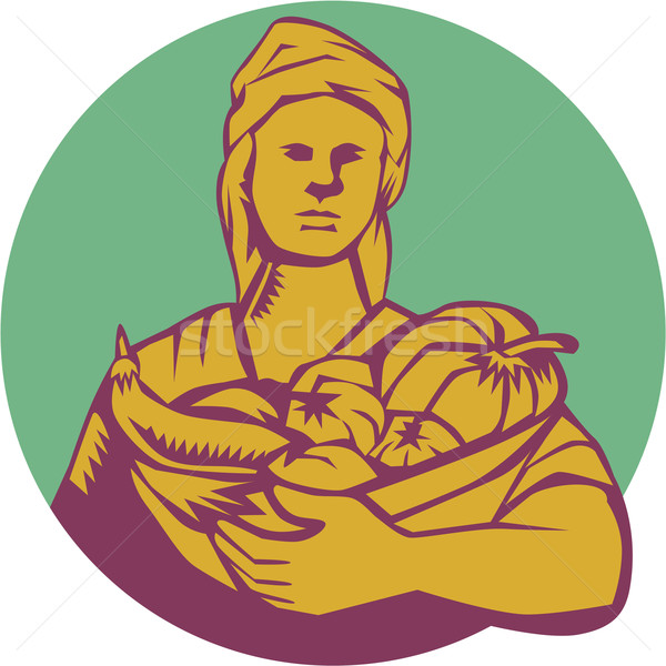 Kobiet organiczny rolnik koszyka zbiorów kółko Zdjęcia stock © patrimonio