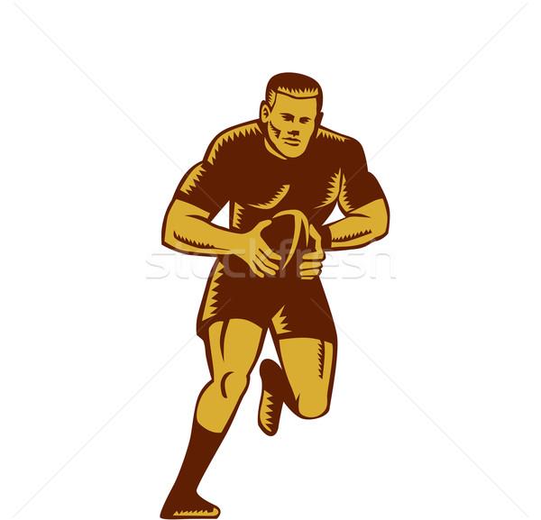 Rugby Player Running Ball Woodcut Stock photo © patrimonio