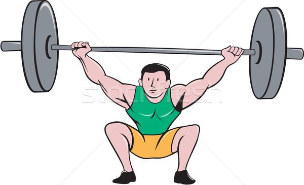 Gewichtheffer gewichten cartoon illustratie Stockfoto © patrimonio