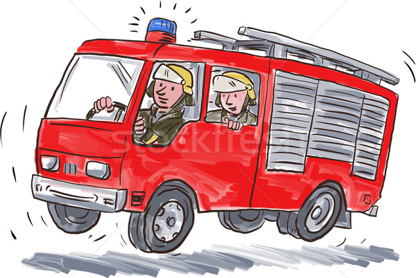 Red Fire Truck Fireman Caricature Stock photo © patrimonio