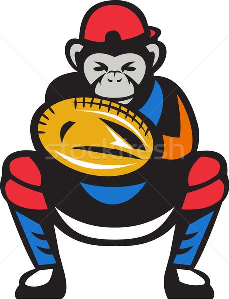 Csimpánz baseball retro illusztráció baseball játékos kesztyű Stock fotó © patrimonio