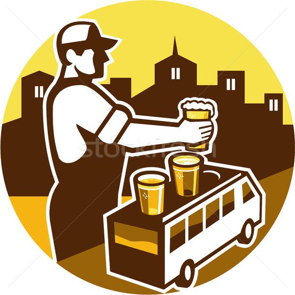 Barman bier stad van cirkel retro Stockfoto © patrimonio