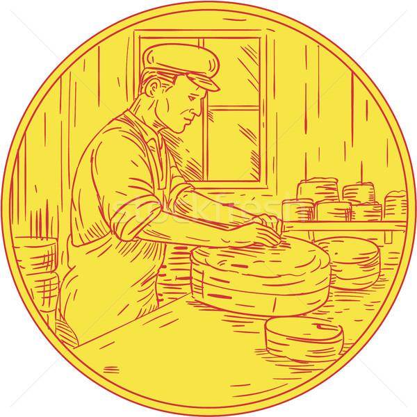 Swiss Cheesemaker Traditional Cheese Circle Drawing Stock photo © patrimonio
