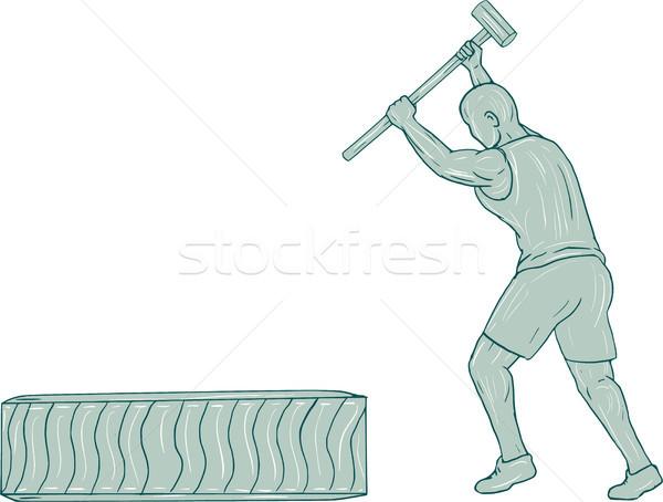 Fitness Athlete Sledge Hammer Striking Tire Drawing Stock photo © patrimonio