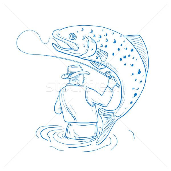 Voar pescador truta pescaria desenho esboço Foto stock © patrimonio