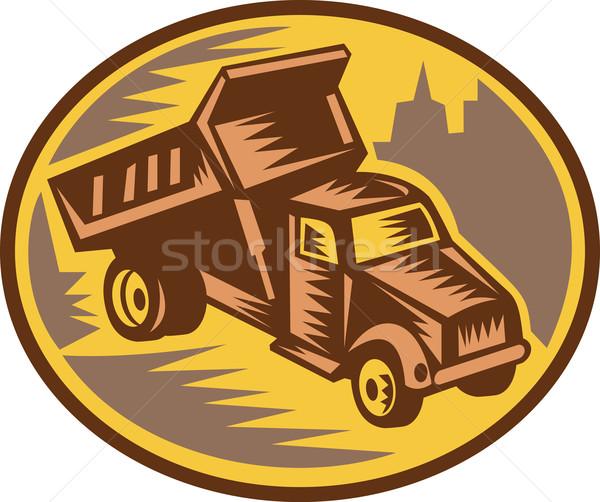 Dump truck woodcut style Stock photo © patrimonio