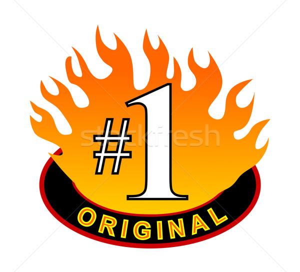 Originale icône illustration à l'intérieur flamme isolé Photo stock © patrimonio
