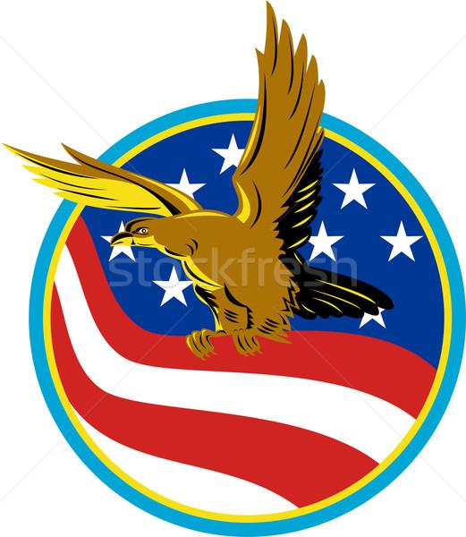 American Eagle Carry USA Flag Retro Stock photo © patrimonio