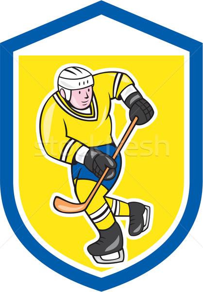 Ice Hockey Player With Stick Shield Cartoon Stock photo © patrimonio
