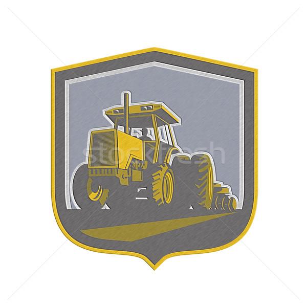 Metallic Farmer Driving Vintage Farm Tractor Plowing Retro Stock photo © patrimonio