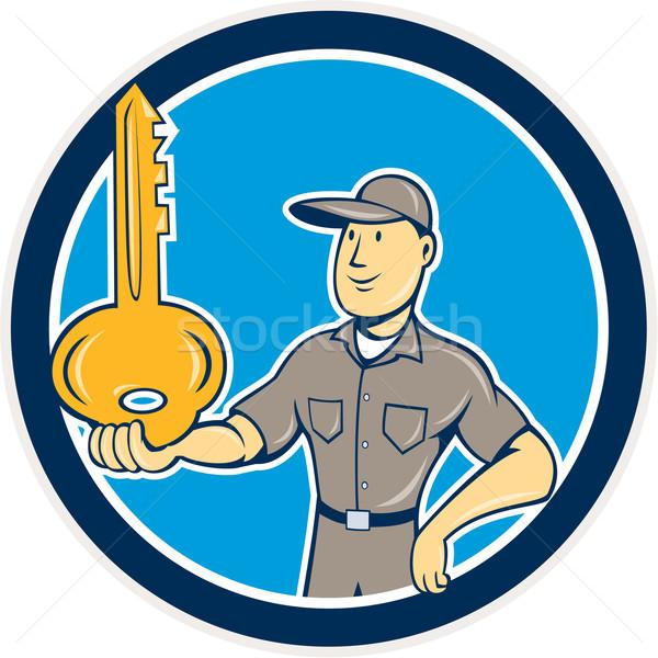 ślusarz równoważenie kluczowych dłoni kółko cartoon Zdjęcia stock © patrimonio