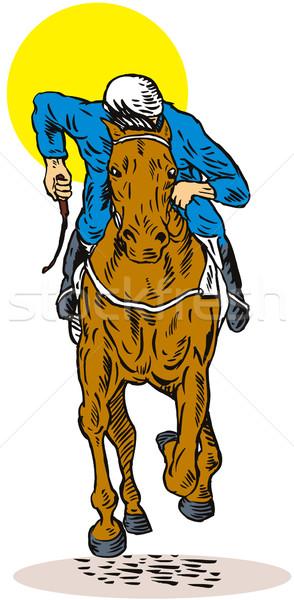 Lóverseny elöl illusztráció kilátás citromsárga kör Stock fotó © patrimonio
