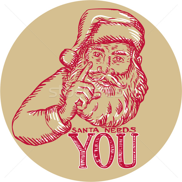 Santa Claus Needs You Pointing Etching Stock photo © patrimonio