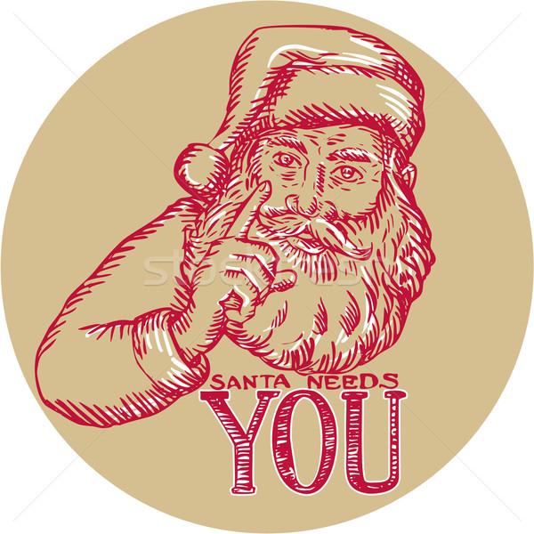 Дед Мороз указывая ручной работы стиль иллюстрация Сток-фото © patrimonio