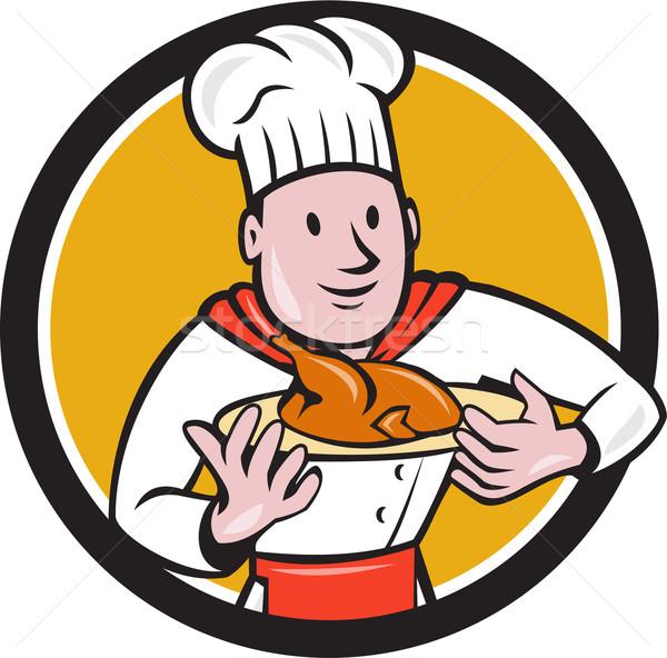 Chef cozinhar frango assado prato círculo desenho animado Foto stock © patrimonio