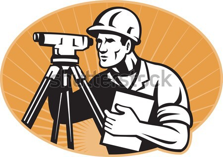 Surveyor Geodetic Engineer Theodolite Isolated Cartoon Stock photo © patrimonio