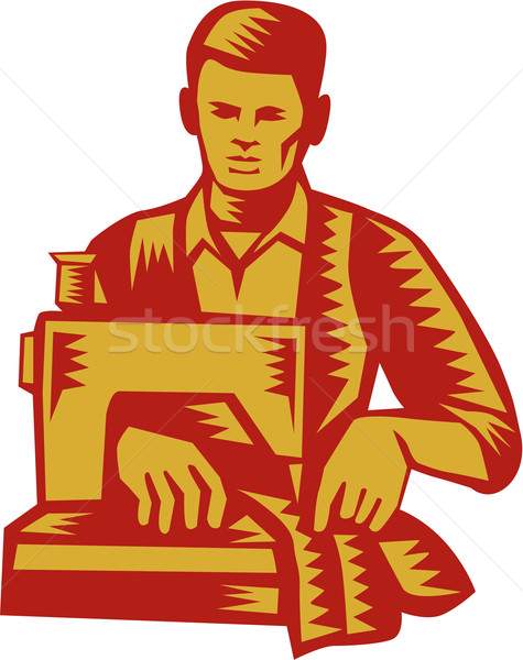 Tailor Sewing Machine Woodcut Stock photo © patrimonio